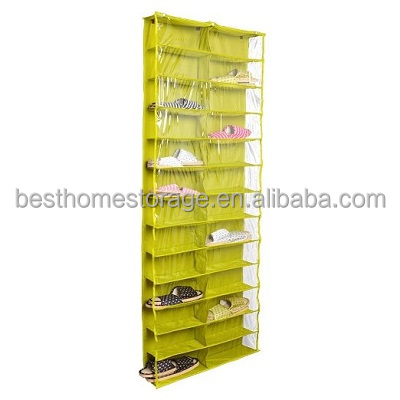 Oxford Fabric Over The Door Shoe Storage Rack,26 Pair Shoe Organizer With Clear Pocket,Green&Blue&Pink