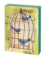 Antique Birdcage Wooden Table Plaque