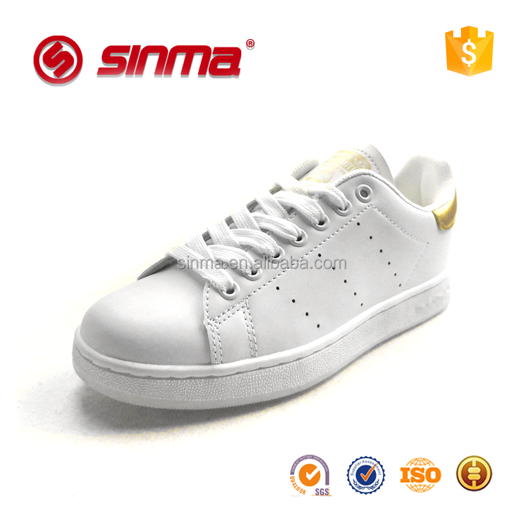 2016 new design wholesale high quality low price PU lady sneakers white sport shoes for women
