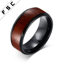 Unique koa wood inlay black tungsten steel wood rings for men
