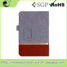 High Quality Genuine Leather Tablet Cover For iPad mini 4 with cardslots and strap