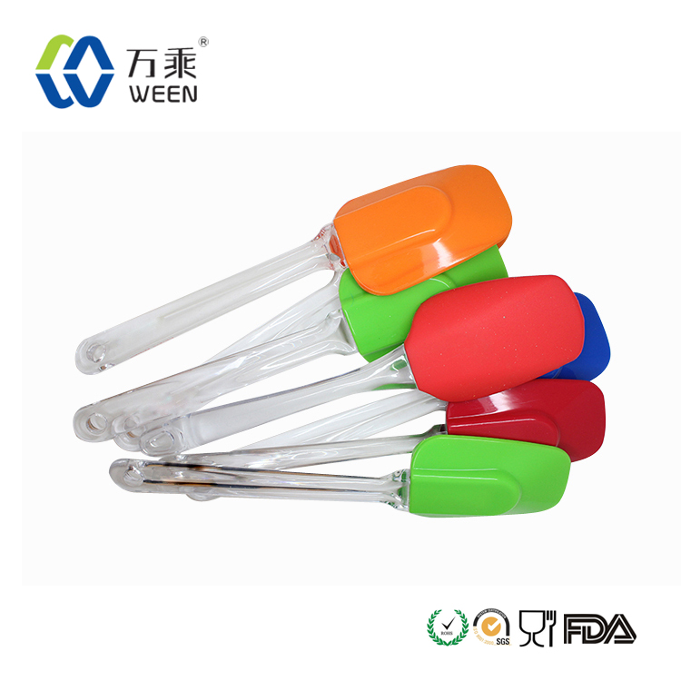 Colorful flexible clear long handled spatulas for baking-cooking-mixing