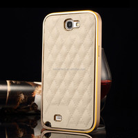 High Quality Mobile Phone Leather Case for Samsung Note 2 N7100 Metal Frame Back Cover