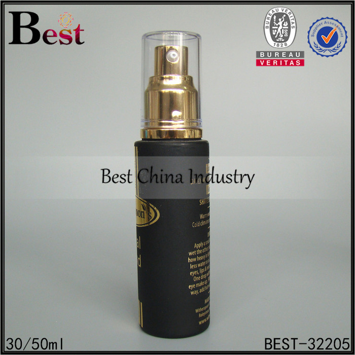 China cosmetic glass lotion bottle 20ml 30ml 50ml 100ml 120ml matte frosted black glass bottle with gold silver pump and cap