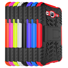 2016 Hot New product PC TPU Mobile Phone Case 2 in 1 Shockproof cover Case For Samsung J3 With Stand---laudtec