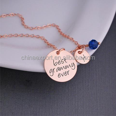 Personalised unisex engraved message necklace with disc and birthstone