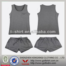 Wholesales Plain Gray Color Dry Fit Stretch Ladies Sports Sets With Singlet And Shorts