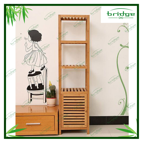 Different size bamboo bathroom storage cabinet shelf