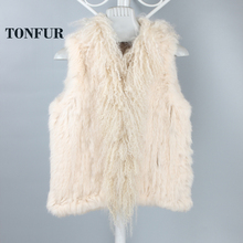 Genuine Fur Vest 100% Real Rabbit Fur Knitted gilet with Mongolian fur collar for Women Winter Fashion
