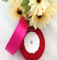 "Wholesale 1"" inch 25mm light rose red craft party wedding Fushia polyester satin ribbon roll 125yards/piece"