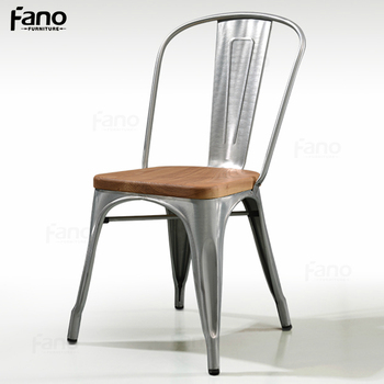 Wholesale Brushed Galvanized Clear Metal Cafe Chair With Wooden Seat