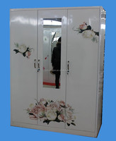 steel three doors wardrobe cabinet with flower picture image
