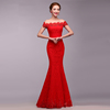 Hot Sale Good Quality Lace Red Evening Dress