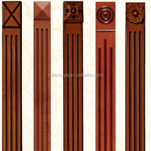 carved red solid wood roman pillars