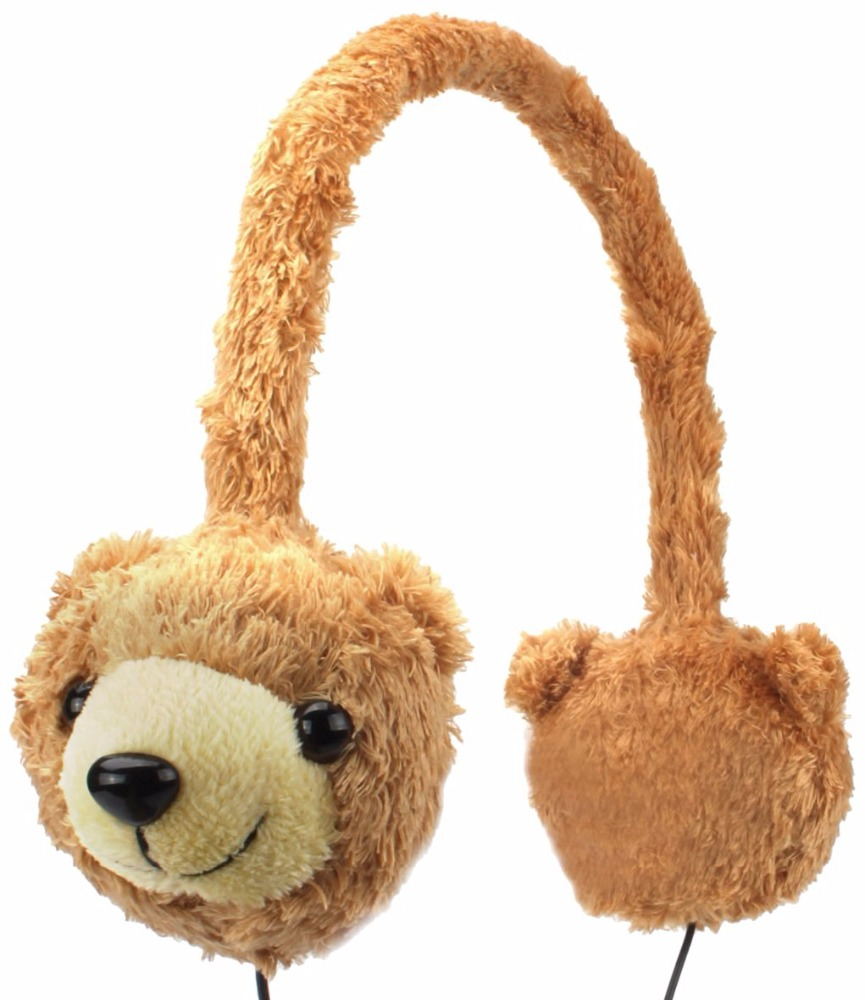 Wholesales Hot Selling Custom bear cartoon animal Plush Retractable Cable Keep Warm Wired Headphone,Headband