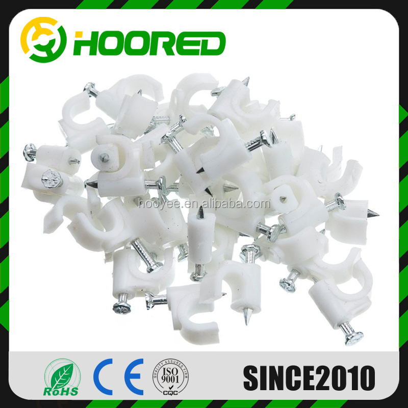 100 White Round Cable Clips Nail Wall Mounting Cables 6 mm