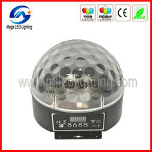 Transparent DMX sound control 6 3w RGB dome crystal mini effect light led ball stage