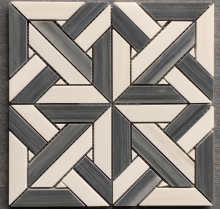 Beautiful Square Geometry Design Thassos White Marble Moon Mosaic Tile Waterjet Medallion