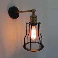 Factory on sale Nordic simple style vintage cage black wall lamp with Edsion bulb