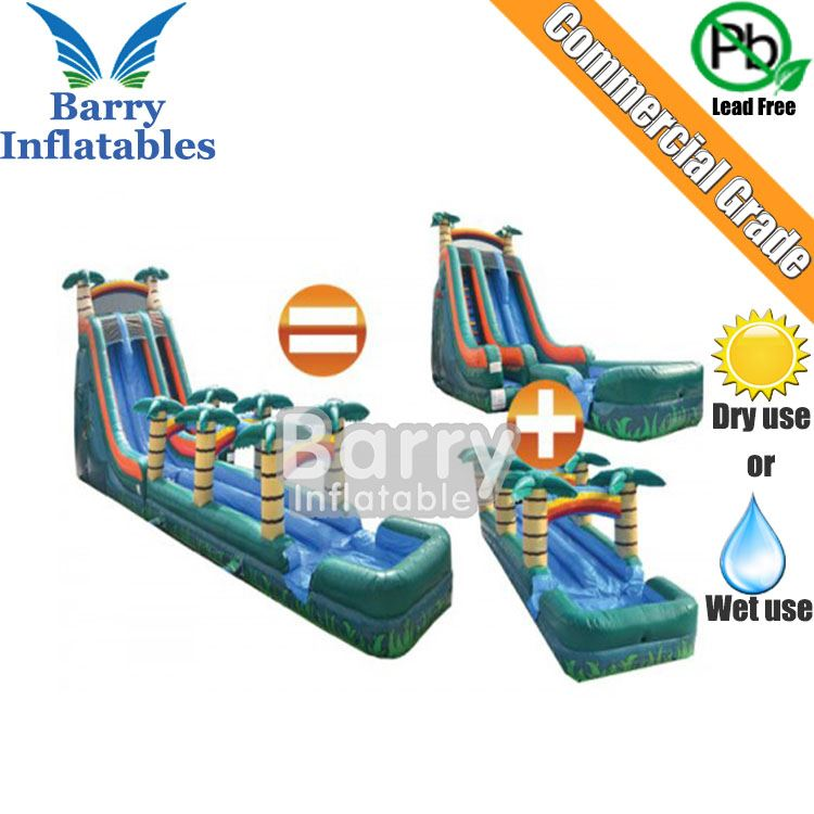 Jungle inflatable slip n slide , screame wet or dry inflatable slide