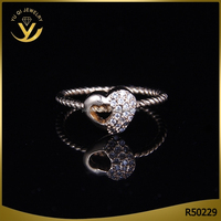 Wholesale silver jewelry cubic zirconia couple ring gold wedding jewelry