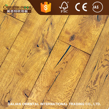 China manufacture light yellow color oiled rustic European oak parquet flooring wood