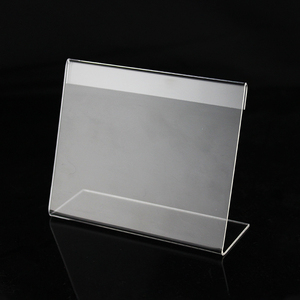 Acrylic 1.5mm Small Sign Clip L Label Tag Frame Table Sign Price Tag Label Display Paper Name Card Holders Stands Desktop
