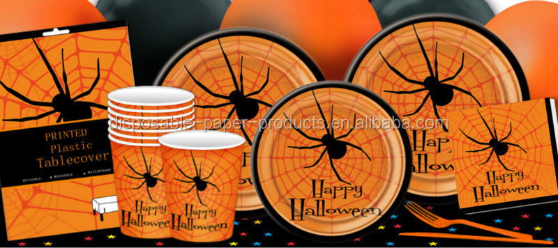 Halloween Party Supplies Orange Black Spider Web Tableware Disposable Paper Plates Cups Napkins and Plastic Table Cover Spider