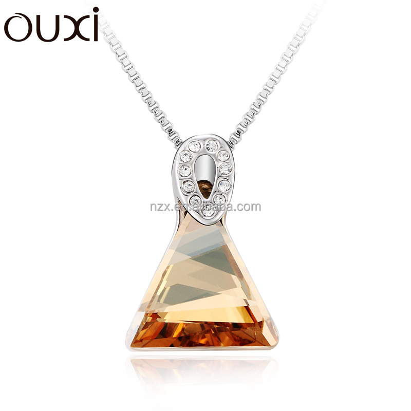OUXI fashion hot sale unique jewelry muse triangle made with crystal alloy 18K gold plated necklace 10700