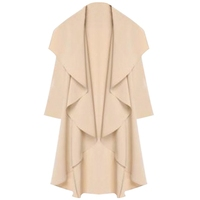 Thin Coat 2015 Spring Autumn Women Ladies Chiffon Waterfall Long Sleeve Fallaway Open Cape Tops Lapel Cardigan Jacket Plus Size