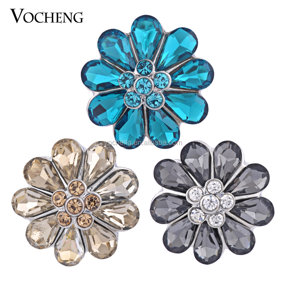 Vocheng 18 mm Ginger Snaps 3 Colors Flower Jewelry Findings Interchangeable Snap Jewelry Vn-674