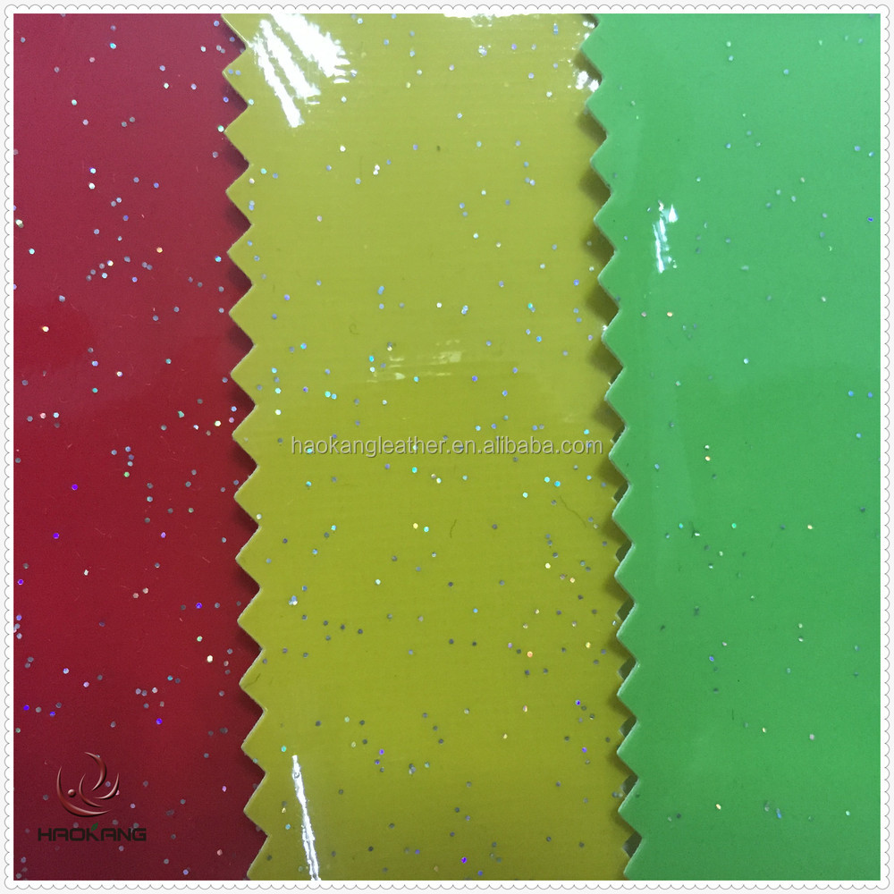 Pvc Artifical Shinning Glitter Leather With Film