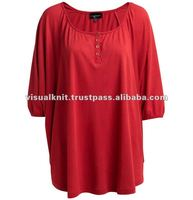 High Quality Fashion Red O-Neck 100% Cotton Lady T-shirt