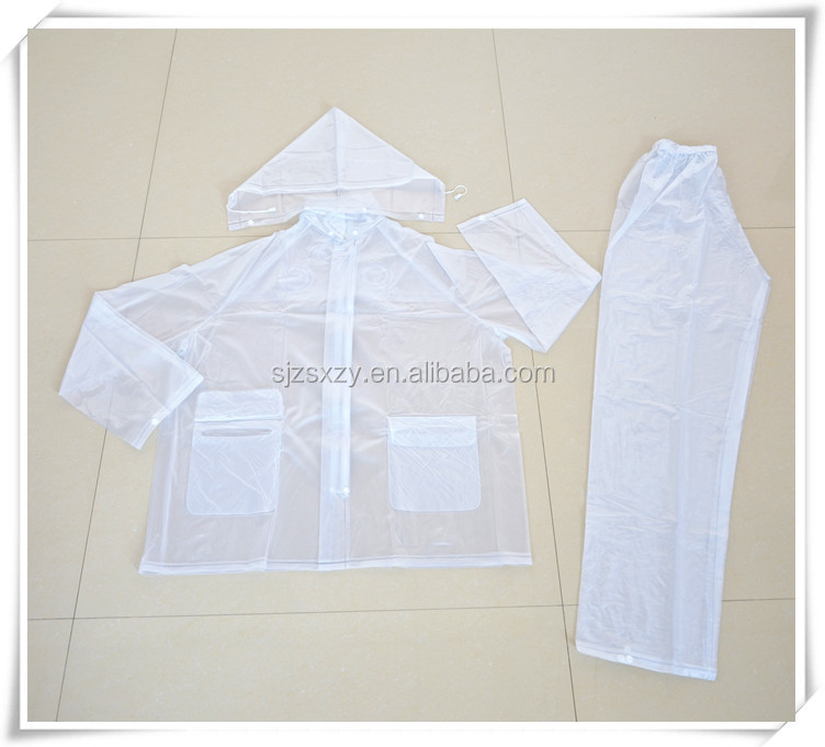 Adult transparent rubber rainsuit