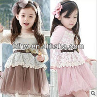 Spring model of children's clothing lace false 2 dress