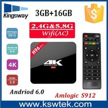Amlogic S912 android 6.0 Smart Tv Box Kodi 16.1 mlogic S912 tv box with high quality