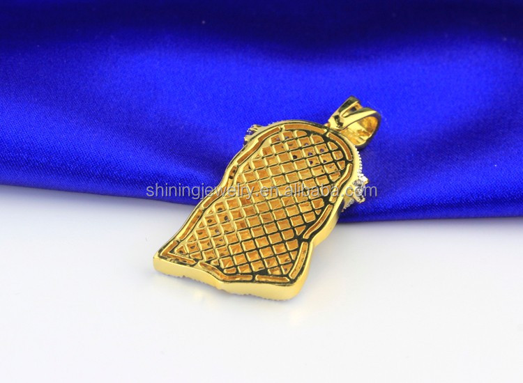 Hip Hop Bling Iced Out Lab Diamond Mens Gold Tone Jesus Pendant 14K