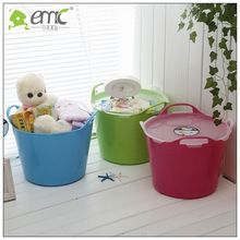 round PE plastic laundry baskets with lid