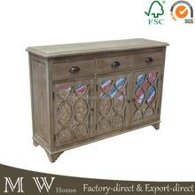 MW-A16022 french vintage fir natural color 3 doors 3 drawers 127x38x89cm rustic wooden sideboard, mirrored sideboard