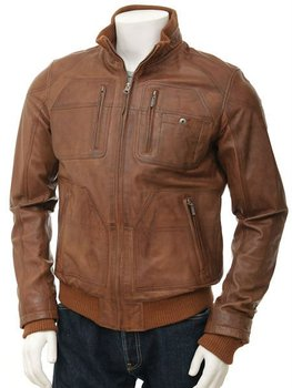 Men's Leather Bomber Jacket in Tan