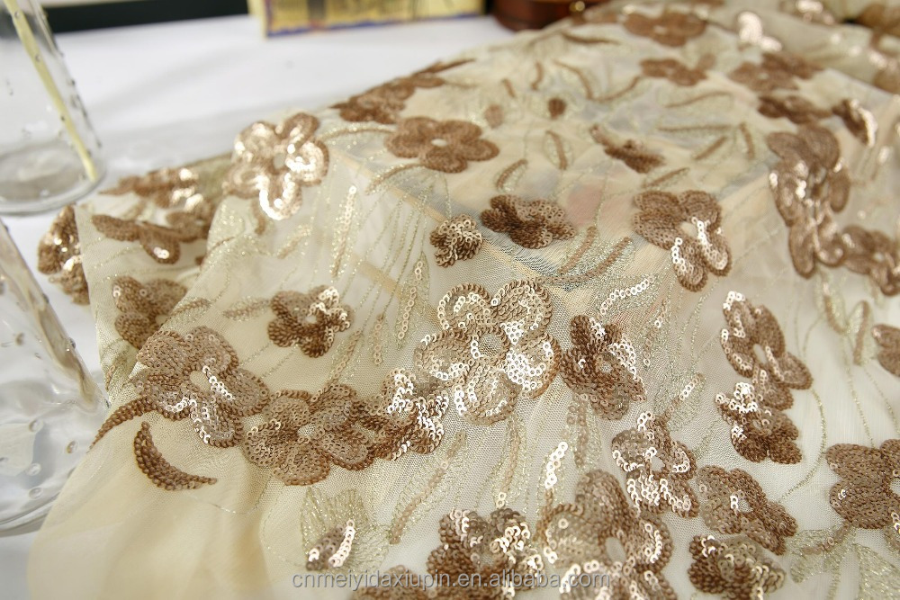 sequin embroidery cloth;100 polyester sequincloth;woman fress