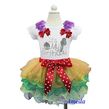 Rainbow Petal Pettiskirt with Bling Rhinestone It's My Birthday White Short Sleeves Top 1-7Y