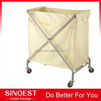 Low price Stainless steel folding wheeled hotel laundry basket