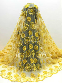 100% Polyester Material tulle lace with pearls yellow color wedding dress lace