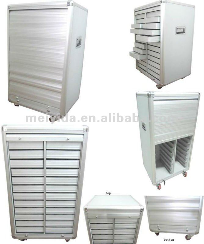 Rolling door aluminium showcase with removable drawers