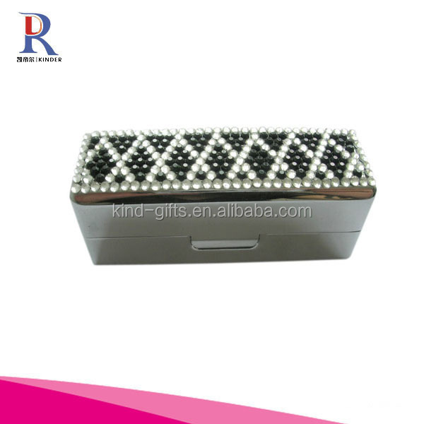 Rhinestone Decorated Metal Lipstick Case for Ladies