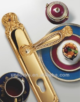 New Luxury Brass Door Handle with Plate Gold Plated(U081-398L-KG)