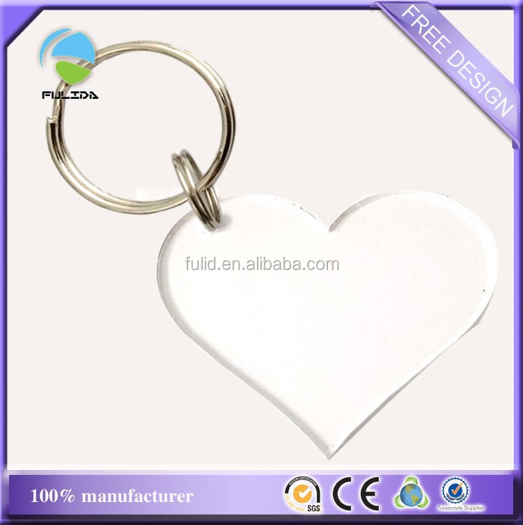 Custom Transparent Clear Heart Shape Blank Engrave Acrylic Keyring
