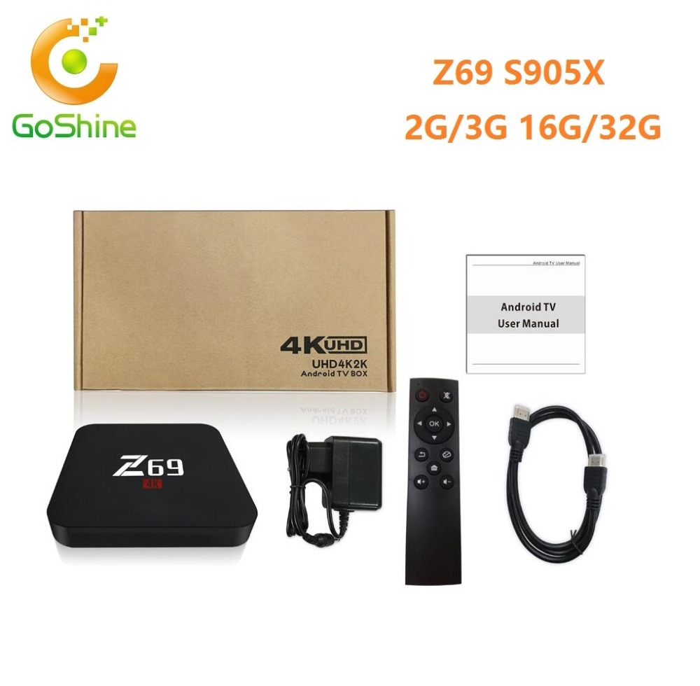 Goshine Original 3G 32G Bluetooth 4.0 Android 6.0 Amlogic S905X 4K Full HD World Tv Box z69