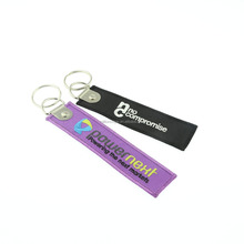 Custom woven embroidery keychain hotel room key holder